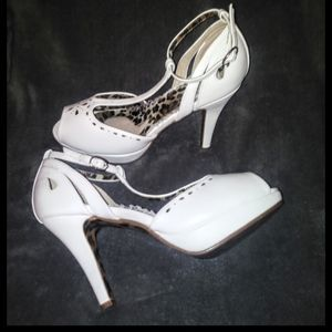 Bettie page white open toe pumps. Never worn